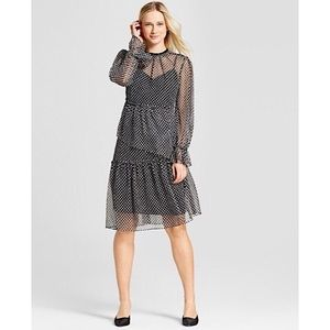 WHO WHAT WEAR | Polka Sheer Asymmetrical Hem Dress